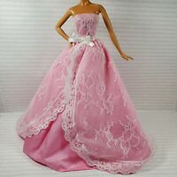 EVENING W~ DRESS ~ MODEL MUSE BARBIE DOLL PINK WHITE LACE BIRTHDAY WISHES GOWN