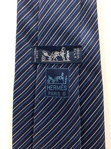 Hermes Tie 5140 HA Blue White Diagonal Stripe 100% Silk