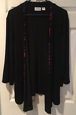 Chico's Travelers Sz 2 (M/L) Black Red trim uneven hem Long sleeve jacket EUC