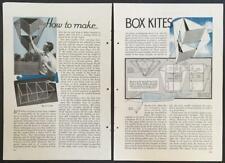 "Box Kites 12"" - 72"" & Parachute Dropper 1934 HowTo build PLANS INFO"