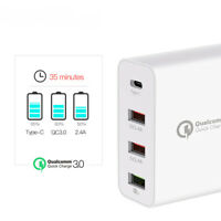48W 4 Multi-Port Fast PD Quick Charge QC 3.0 USB Type C Hub Wall Charger Adapter