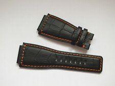 Genuine Leather Alligator Grain Watch Strap 24mm Black by Strapjunkie