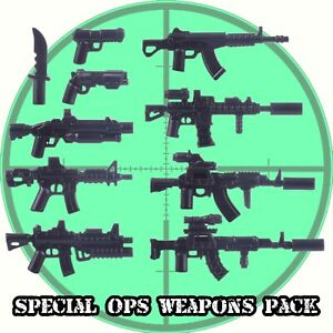 Custom Special Ops Weapons Pack Assault Rifles + Machine Guns fits Lego®