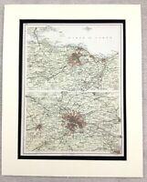 1899 Antique Map of Scotland Edinburgh Glasgow Scottish 19th Century Original