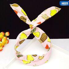 Retro Women Rabbit Bunny Ear Ribbon Hair Band Metal Wire Headband Wrap Cute Bow