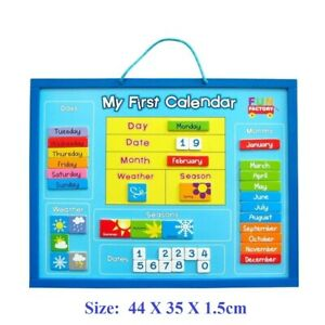 Wooden MY FIRST CALENDAR Magnetic Days Months Date Seasons Weather Kids Toy