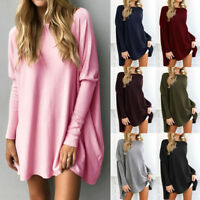 Womens Long Batwing Sleeve Knit Sweater Loose Sweatshirt Top Blouse Shirt Dress