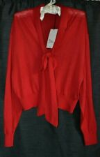 """""""ZARA"""" RED TIE NECK WOOLY N.W.T. SIZE SMALL( SEE DESCRIPTION FOR MEASUREMENTS"""