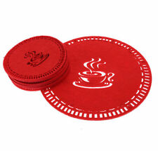7-piece Red Coffee Coaster Set, Placemat Tablemat Dinner Drink Party Tea Home