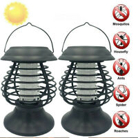 2pcs Solar LED Lamp Bug Zappers Mosquito Killer Insect Repeller Light Garden new