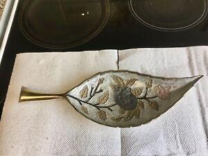 Vintage Cloisonné Brass Dish, Jewellery Cup Leaf - Shaped Enamelled Floral Decor