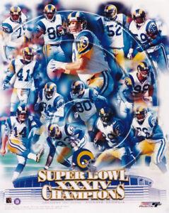 St. Louis Rams Super Bowl XXXIV Champions 8x10 Photo Marshall Faulk Kurt Warner