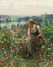Knight Ridgway Daniel Normandy Girl Sitting In A Garden Canvas 16 x 20 #7203