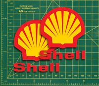 """Classic Shell Oil 3"""" Cafe Racer Shell Race & Rally Car Super Bike GP Stickers.."""