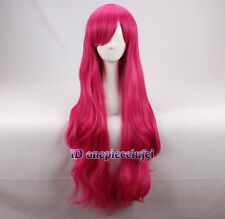 Strawberry Wig 80cm Long dark pink Magenta Cosplay Wig +a wig cap