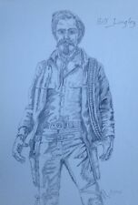 Bill Longley Gunfighters Of The Old West Pencil Sketch Digital Reproduction Art