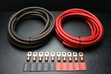 0 GAUGE WIRE 5FT RED 5 FT BLACK SUPERFLEX 10PCS COPPER 3/8 RING HEATSHRINK