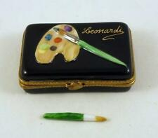 NEW HAND PAINTED FRENCH LIMOGES BOX LEONARDI ARTIST 'S PAINT PALLET PAINT BRUSH