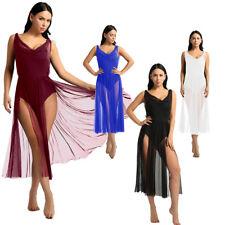 Women Lyrical Maxi Dress Contemporary Ballet Dance Leotard Gymnastics Costumes
