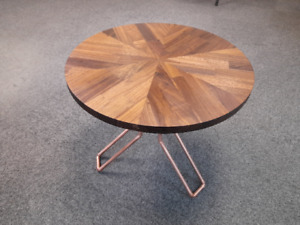 Coffe Table Walnut solidwood with recycled copper pipe legs