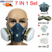 7 In 1 Half Face Respirator For Spraying Painting 7502 Gas Mask Safe Facepiece