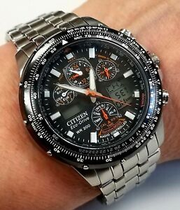 Citizen WR 200 Skyhawk AT Eco-Drive WR-200 wristwatch w/Citizen stainless band!
