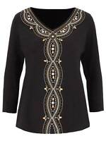 Julipa beaded ladies top size 10 12 14 black embellished top cotton jersey