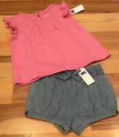 Baby Gap Girls 3-6 Months Outfit. Pink Lace Shirt & Blue Shorts. Nwt