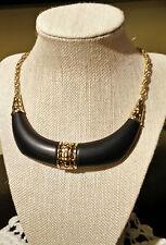 Splendid Vintage Trifari Choker Necklace - Black Lucite & Gold Tone Metal
