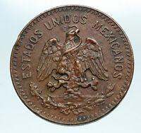 1935 MEXICO City EAGLE CACTUS SERPENT 20 Centavos Mexican Coin i84239