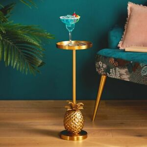 Round Side Table Lamp Plant Furniture Small Vintage Sofa End Metal Gold Stand