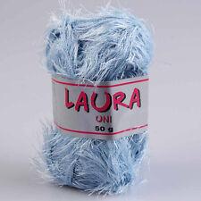 """100g Fransengarn """" Laura Babyblau """" Fransenwolle Wolle stricken Brazilia"""