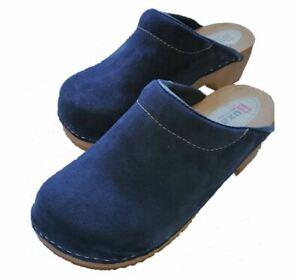 Wooden clogs   Dark  Blue color  F3 Suede (Men)