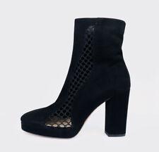 DIOR Diorabstract Star Mesh Platform Black Suede Side Zip Heel Ankle Boots 39