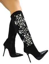 MORI ITALY KNEE HIGH BOOTS STIEFEL STIVALI LEATHER STUDS SILVER BLACK NERO 40