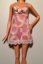 Barbie Doll Clothes Lingerie PINK & WHITE LACE TEDDY NEGLIGEE Underwear Pajamas
