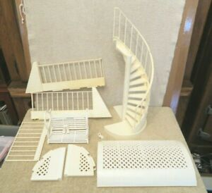Vintage 1984 Barbie Glamour Home Staircase, Swing, Canopy, Railing Plastic Parts
