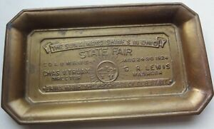 VHTF 1924 OHIO STATE FAIR brass ADVERTISING CHANGE TRAY - FANTASTIC in TOP COND