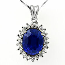 11.75 Ct Blue Sapphire Round F VS1 Diamond Pendant 14k White Gold Women's 16""