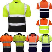 NEW HI VIS POLO SHIRT T-SHIRT TWO TONE WORKWEAR SHORT SLEEVE HIGH VIZ SAFETY TOP