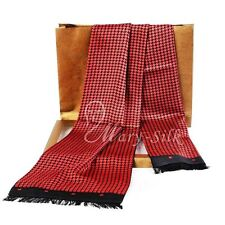 Mens 100% Silk Long Scarf Cravat Scarives Double Layer _Spring Autumn Winter