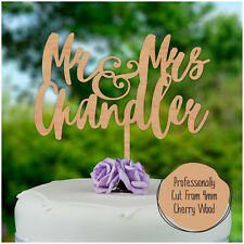WOODEN Personalised Mr Mrs Wedding Cake Topper Hardwood Cake Decoration Keepsake