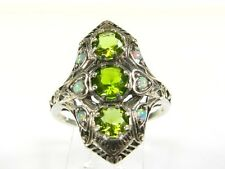 2ctw Round Cut Peridot & Opal Victorian Art Deco Sterling Filigree Ring sz8 118b