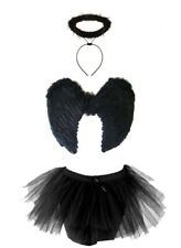Halloween Feather Girl DARK ANGEL FAIRY COSTUME Fancy Dress Outfit Party Lot UK