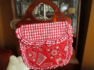 Vtg 70s Quilted Puffer Sewing Bag Clear PLastic Handle Bandana Hanky Print Purse
