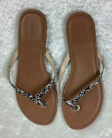 Women's Banana Republic Leather Flip Flop Thong Sandals Size 9.5 black/white