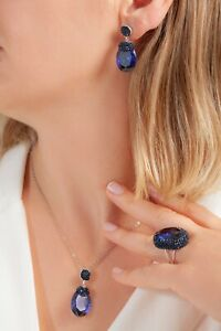 SOLID STERLING 925 SILVER LADIES JEWELRY ASIAN BLUE SAPPHIRE FULL SET