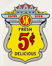 SILVER KING, 5 CENT. VENDING, COINOP,  WATER SLIDE DECAL # DS 1039