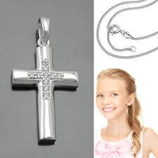 Baby Taufe Mädchen Kinder Kommunion Kreuz Kette Zirkonia Anhänger Silber 925
