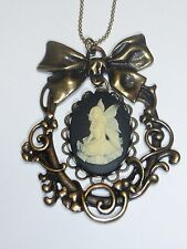NEW Gothic Bow Angel White Cameo Brass Pendant Necklace ELEGANT  US SELLER